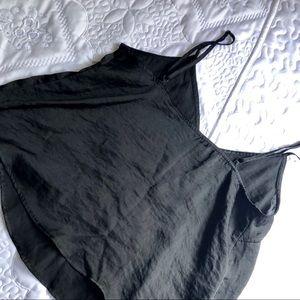 Black silk crop top